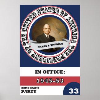 Harry S. Truman Presidential History Retro Poster