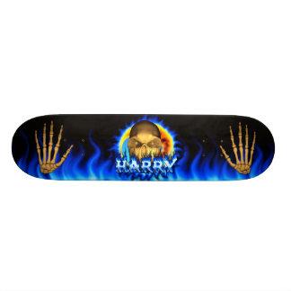 Harry skull blue fire and flames skateboard design
