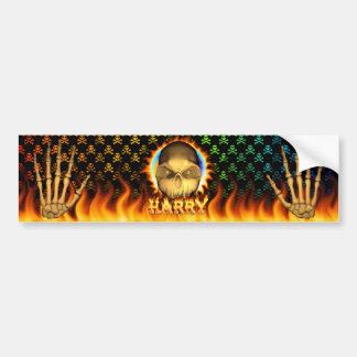 Harry skull real fire and flames bumper sticker de