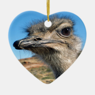 Harry the Happy Ostrich Ceramic Heart Ornament