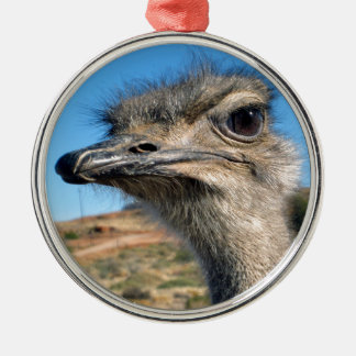 Harry the Happy Ostrich Silver-Colored Round Ornament