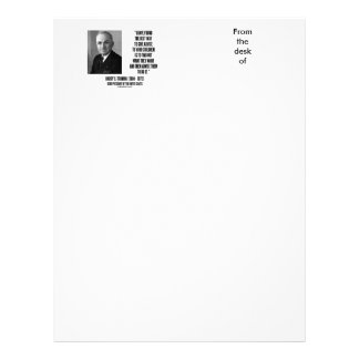 Harry Truman Best Way Give Advice To Your Children Letterhead