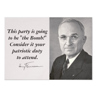 "Harry Truman 5"" X 7"" Invitation Card"