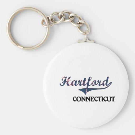 Hartford Connecticut City Classic Basic Round Button Keychain