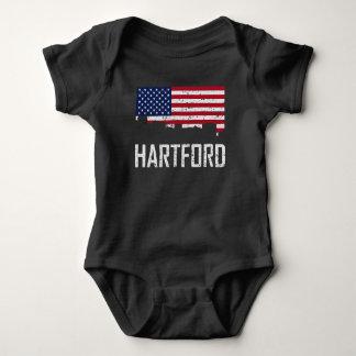 Hartford Connecticut Skyline American Flag Distres Baby Bodysuit
