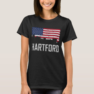 Hartford Connecticut Skyline American Flag Distres T-Shirt