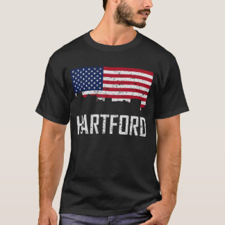Hartford Connecticut Skyline American Flag Distres T-Shirt