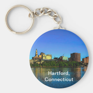 Hartford Connecticut Skyline Cartoon Keychain