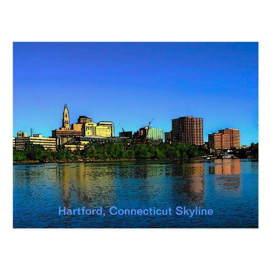 Hartford Connecticut Skyline Cartoon Postcard