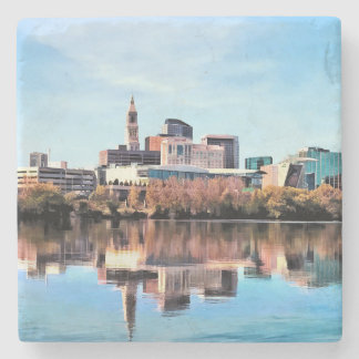 Hartford CT Skyline Stone Coaster
