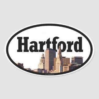 Hartford CT Skyline with Hartford in the Sky Oval Sticker