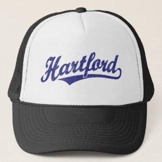 Hartford script logo in blue distressed trucker hat