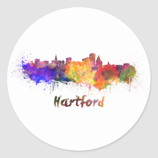 Hartford skyline in watercolor round sticker