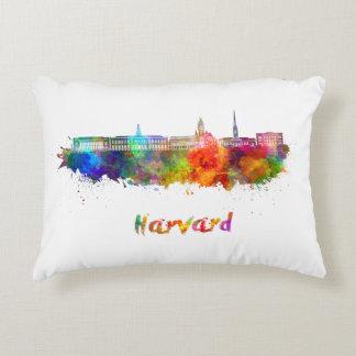 Harvard skyline in watercolor accent pillow