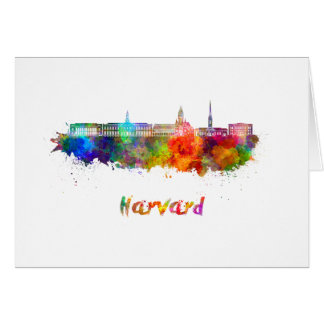 Harvard skyline in watercolor card