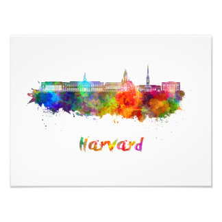 Harvard skyline in watercolor photo art