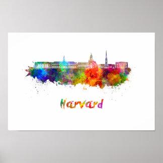 Harvard skyline in watercolor poster
