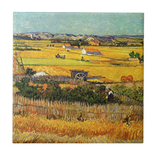 Harvest at La Crau, with Montmajour... Ceramic Tiles