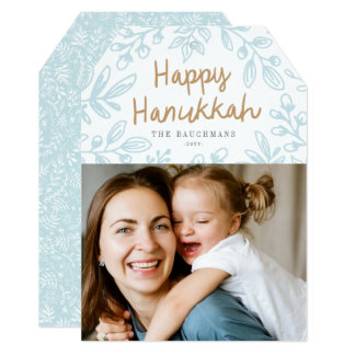 Harvest Floral Hanukkah Photo Card