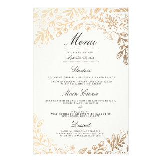 Harvest Flowers Wedding Dinner Menu Custom Flyer
