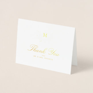 Harvest Flowers Wedding Thank You Foil Card