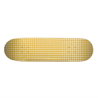 Harvest Gold and White Gingham Check Plaid Pattern Skate Boards