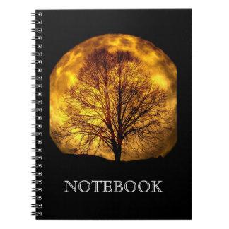 Harvest Moon Black Fall Tree Silhouette Notebook