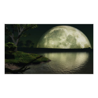 Harvest Moon Over Lake - Colossal (or smaller) Poster