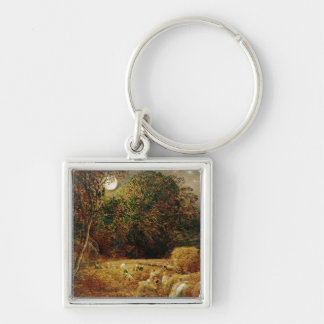 Harvest Moon Silver-Colored Square Keychain
