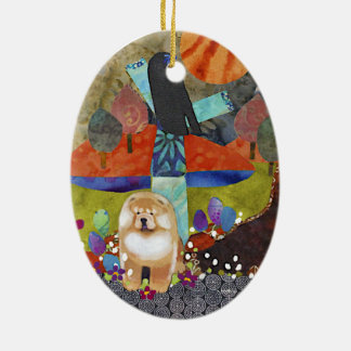 HARVEST MOONDANCE chow Ceramic Ornament