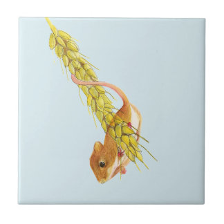 Harvest Mouse Watercolour Painting Artwork Gifts Ceramic Tile