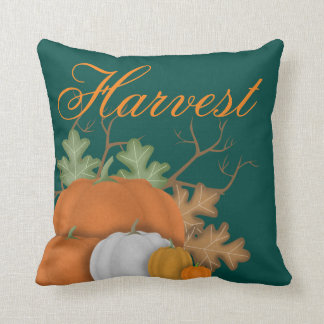 Harvest Pumpkins and Oak Leaves Custom Throw Pillow