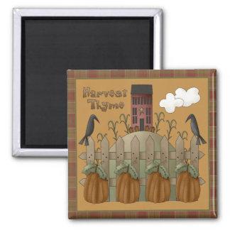 """Harvest Thyme"" Autumn Square Magnet"