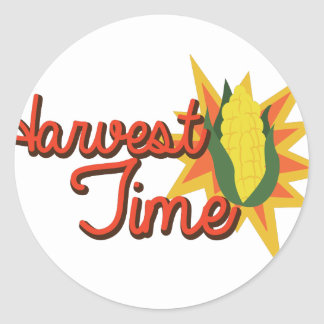 Harvest Time Corn Classic Round Sticker