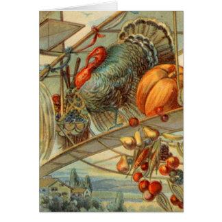 Harvest Turkey and Biplane Card