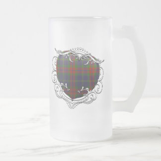 Harvey Tartan Heart Frosted Glass Beer Mug