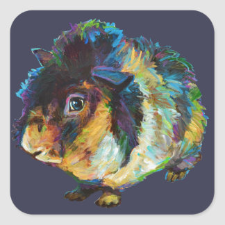 Harvey the Cute Guinea Pig Square Sticker