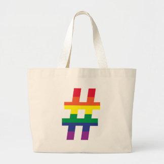 Hash Tag Gay Pride Large Tote Bag