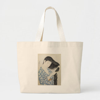 Hashiguchi Goyo - Woman in Blue Combing Her Hair Large Tote Bag