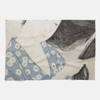 Hashiguchi Goyo - Woman in Blue Combing Her Hair Towel