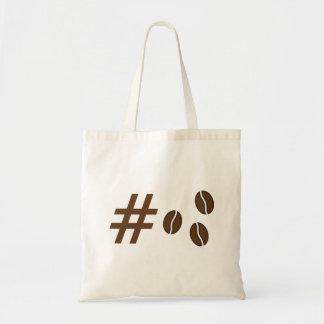 Hashtag coffee beans tote budget tote bag