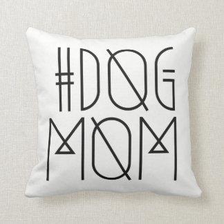 Hashtag Dog Mom Black and White Trendy Pillow
