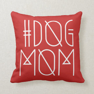 Hashtag Dog Mom Red and White Trendy Pillow