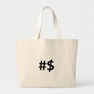 hashtag money large tote bag