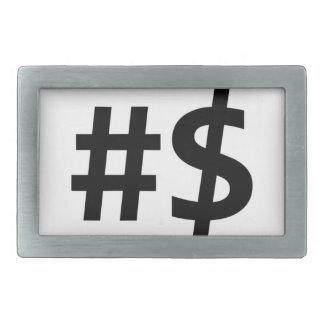 hashtag money rectangular belt buckle