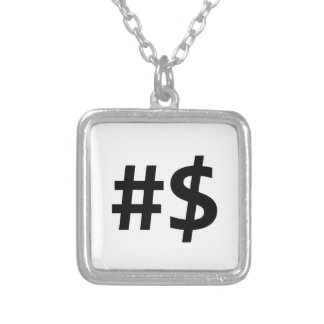 hashtag money silver plated necklace