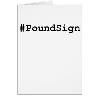 Hashtag Pound Sign Card