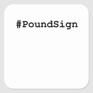 Hashtag Pound Sign Square Sticker
