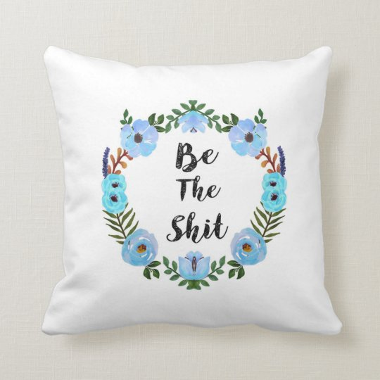 Hashtag Swearing Blue Watercolor Wreath Pillow