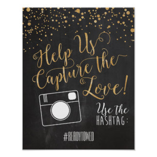 Hashtag wedding Sign Poster